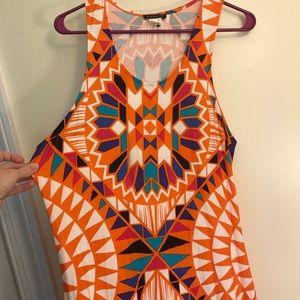 Venus Bright Colored Maxi Dress Sz. L Geo Print